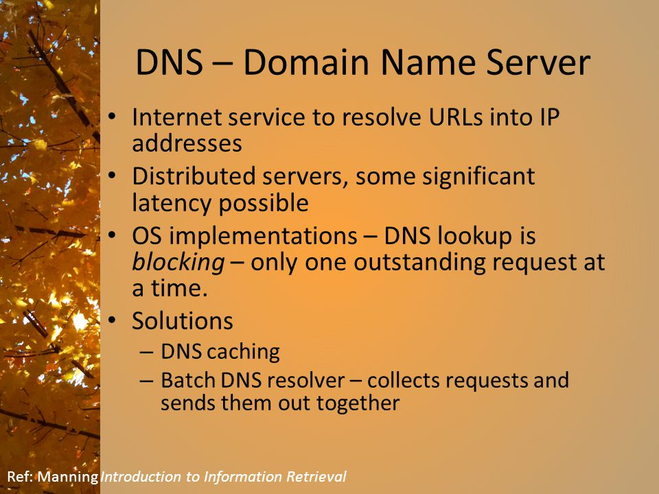 DNS – Domain Name Server Internet service to resolve URLs into IP addresses Distributed servers, some significant latency possible OS implementations – DNS lookup is blocking – only one outstanding request at a time.