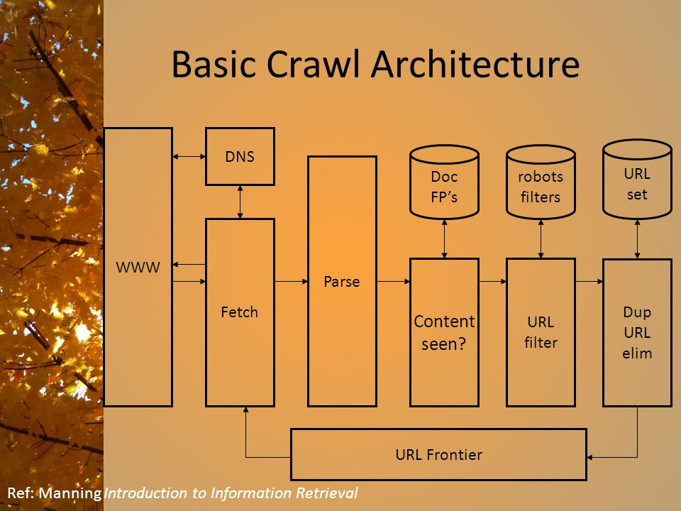 Basic Crawl Architecture WWW DNS Parse Content seen.
