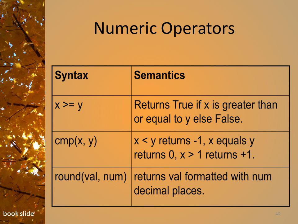 Numeric Operators 40 book slide