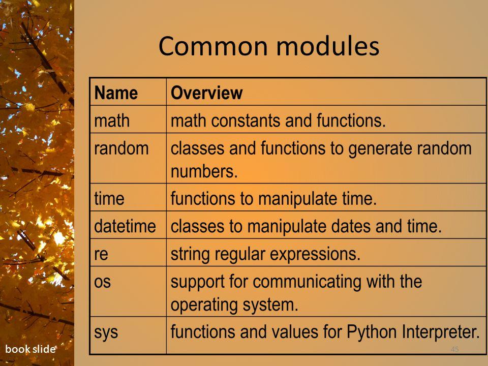 Common modules 45 book slide