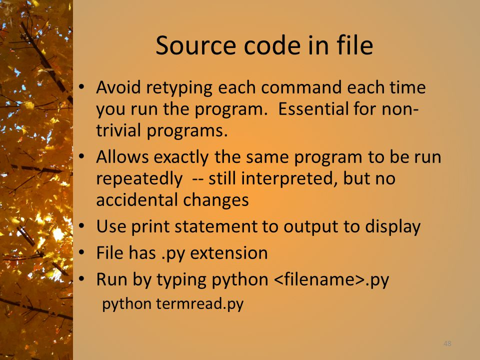 Source code in file Avoid retyping each command each time you run the program.
