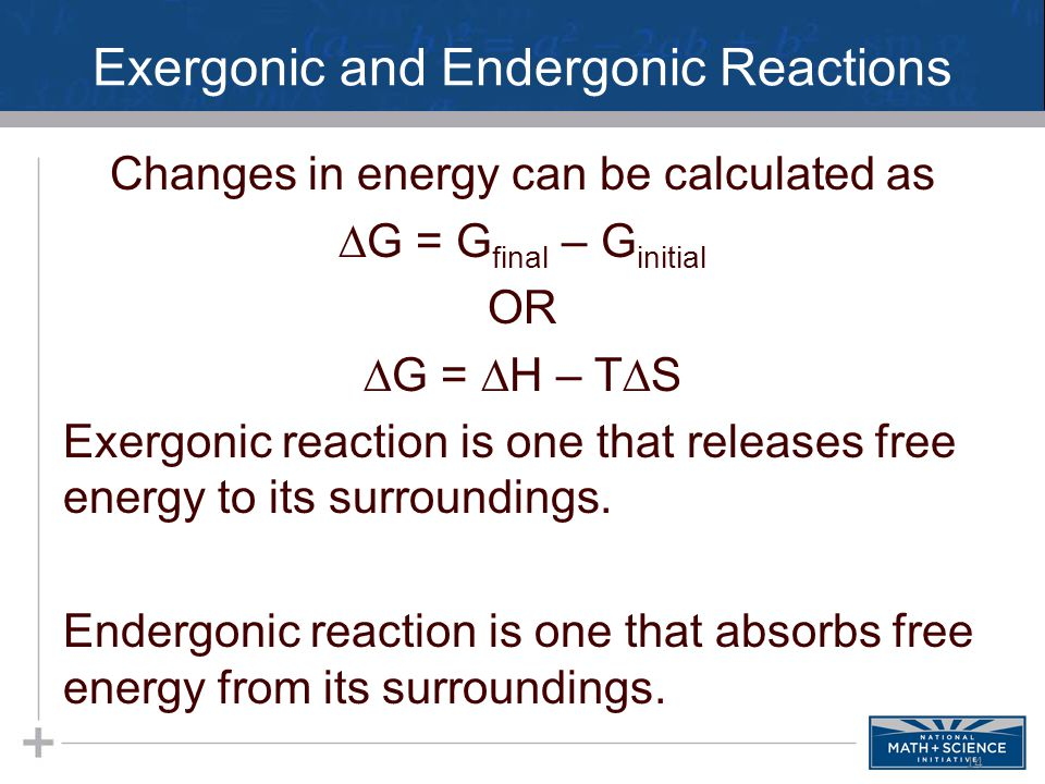 Exergonic and Endergonic Reactions Changes in energy can be calculated as  G = G final – G initial OR  G =  H – T  S Exergonic reaction is one that releases free energy to its surroundings.