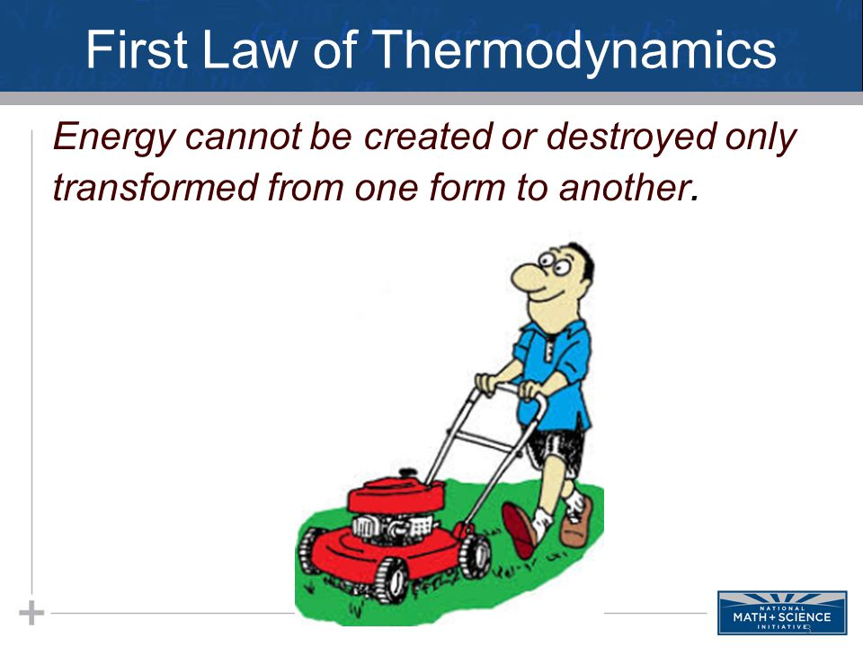 First Law of Thermodynamics Energy cannot be created or destroyed only transformed from one form to another. 3