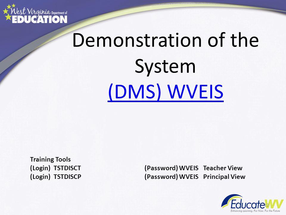 Demonstration of the System (DMS) WVEIS (DMS) WVEIS 12 Training Tools (Login) TSTDISCT(Password) WVEIS Teacher View (Login) TSTDISCP(Password) WVEIS P