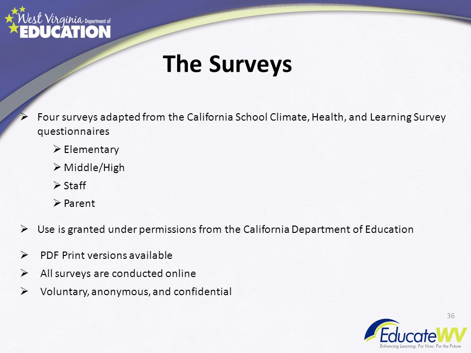 The Surveys  Four surveys adapted from the California School Climate, Health, and Learning Survey questionnaires  Elementary  Middle/High  Staff  Parent  Use is granted under permissions from the California Department of Education  PDF Print versions available  All surveys are conducted online  Voluntary, anonymous, and confidential 36