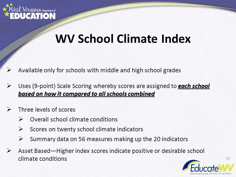  Available only for schools with middle and high school grades each school based on how it compared to all schools combined  Uses (9-point) Scale Scoring whereby scores are assigned to each school based on how it compared to all schools combined  Three levels of scores  Overall school climate conditions  Scores on twenty school climate indicators  Summary data on 56 measures making up the 20 indicators  Asset Based—Higher index scores indicate positive or desirable school climate conditions 55 WV School Climate Index