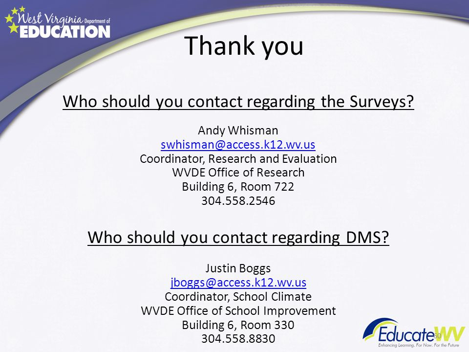 Thank you Who should you contact regarding the Surveys? Andy Whisman swhisman@access.k12.wv.us Coordinator, Research and Evaluation WVDE Office of Res