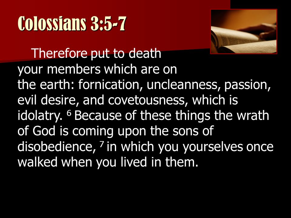 Colossians 3:5-7 Therefore put to death your members which are on the earth: fornication, uncleanness, passion, evil desire, and covetousness, which is idolatry.
