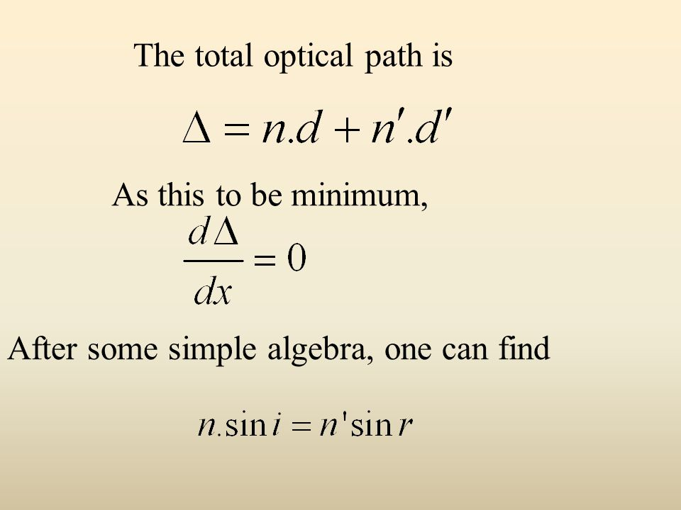 The total optical path is As this to be minimum, After some simple algebra, one can find