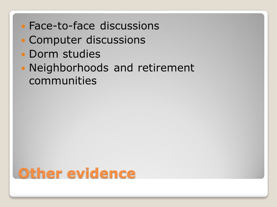 Other evidence Face-to-face discussions Computer discussions Dorm studies Neighborhoods and retirement communities