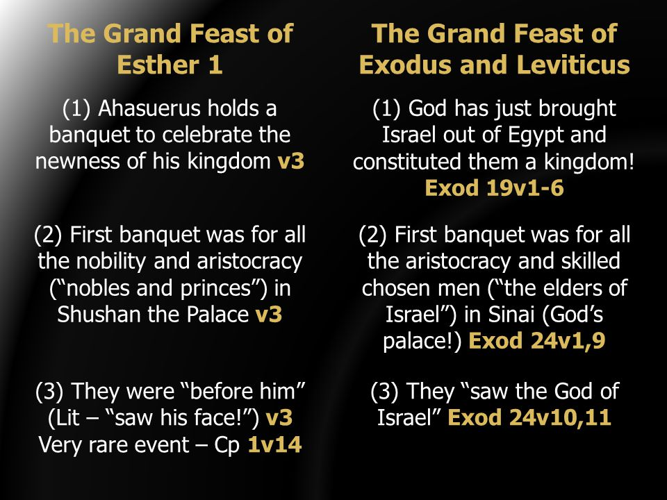 (1) Ahasuerus holds a banquet to celebrate the newness of his kingdom v3 (2) First banquet was for all the nobility and aristocracy ( nobles and princes ) in Shushan the Palace v3 (1) God has just brought Israel out of Egypt and constituted them a kingdom.