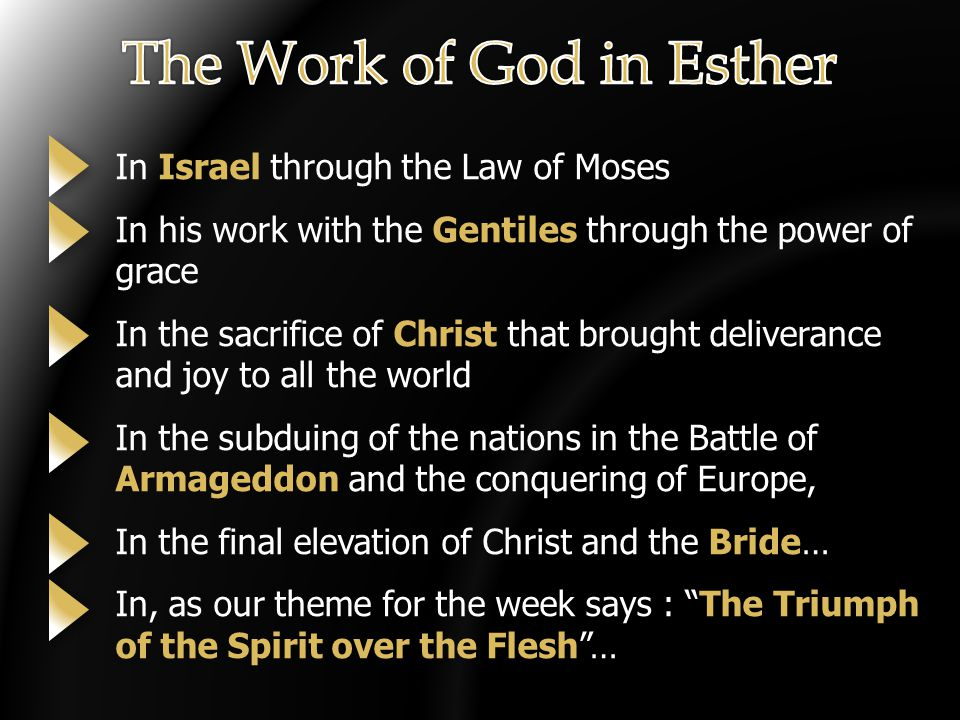 In Israel through the Law of Moses In his work with the Gentiles through the power of grace In the sacrifice of Christ that brought deliverance and joy to all the world In the subduing of the nations in the Battle of Armageddon and the conquering of Europe, In the final elevation of Christ and the Bride… In, as our theme for the week says : The Triumph of the Spirit over the Flesh …