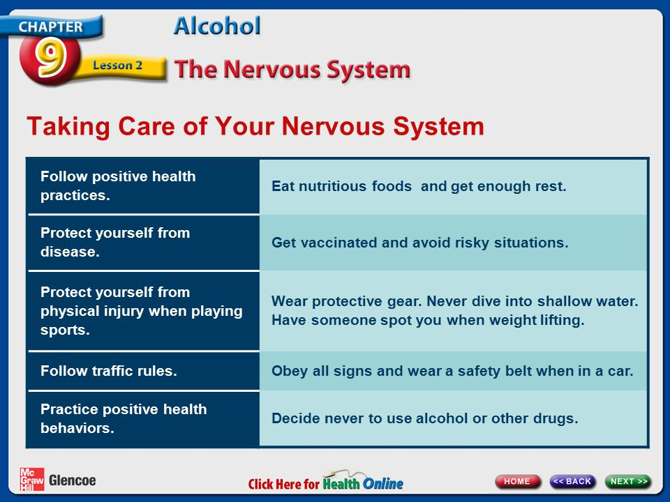 Taking Care of Your Nervous System Follow positive health practices.