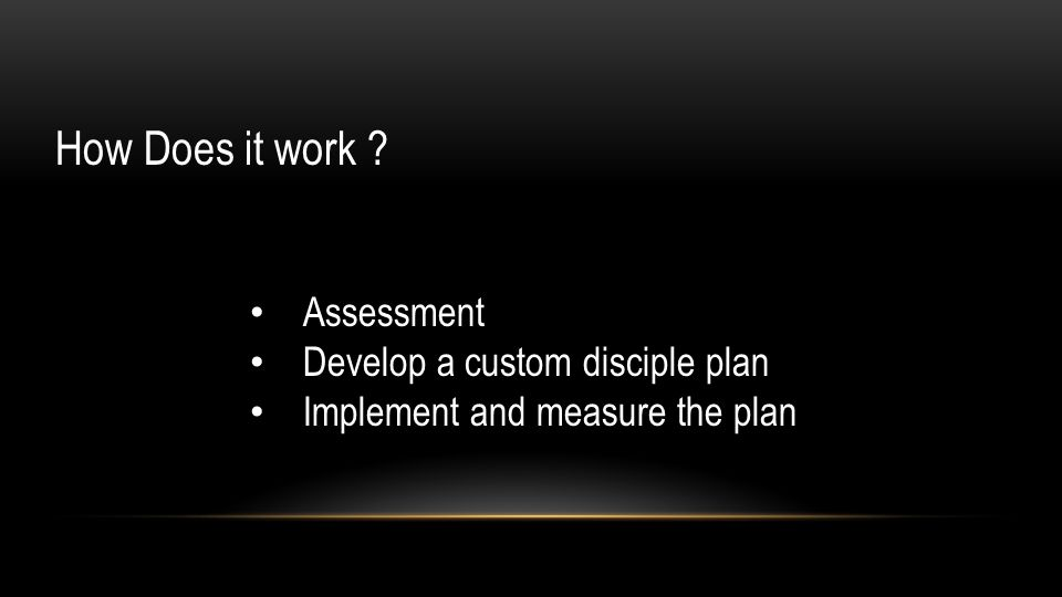 How Does it work Assessment Develop a custom disciple plan Implement and measure the plan