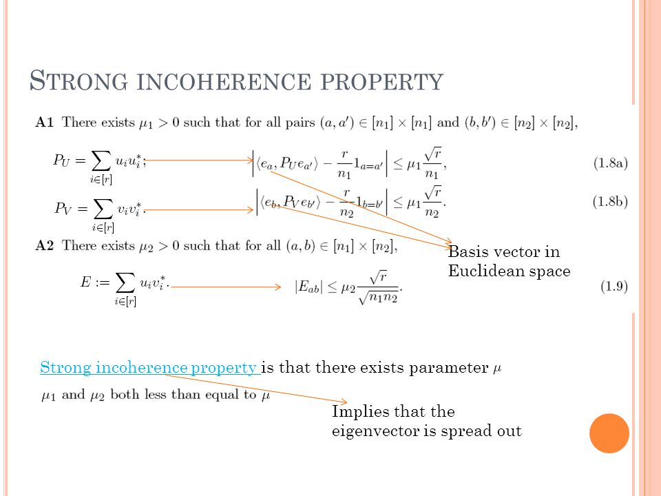 S TRONG INCOHERENCE PROPERTY Strong incoherence property is that there exists parameter Basis vector in Euclidean space Implies that the eigenvector is spread out