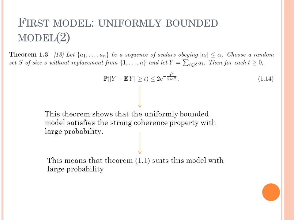 F IRST MODEL : UNIFORMLY BOUNDED MODEL (2) This theorem shows that the uniformly bounded model satisfies the strong coherence property with large probability.