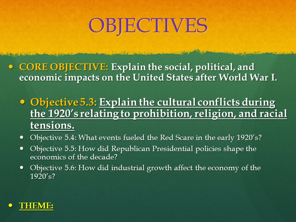 OBJECTIVES CORE OBJECTIVE: Explain the social, political, and economic impacts on the United States after World War I.