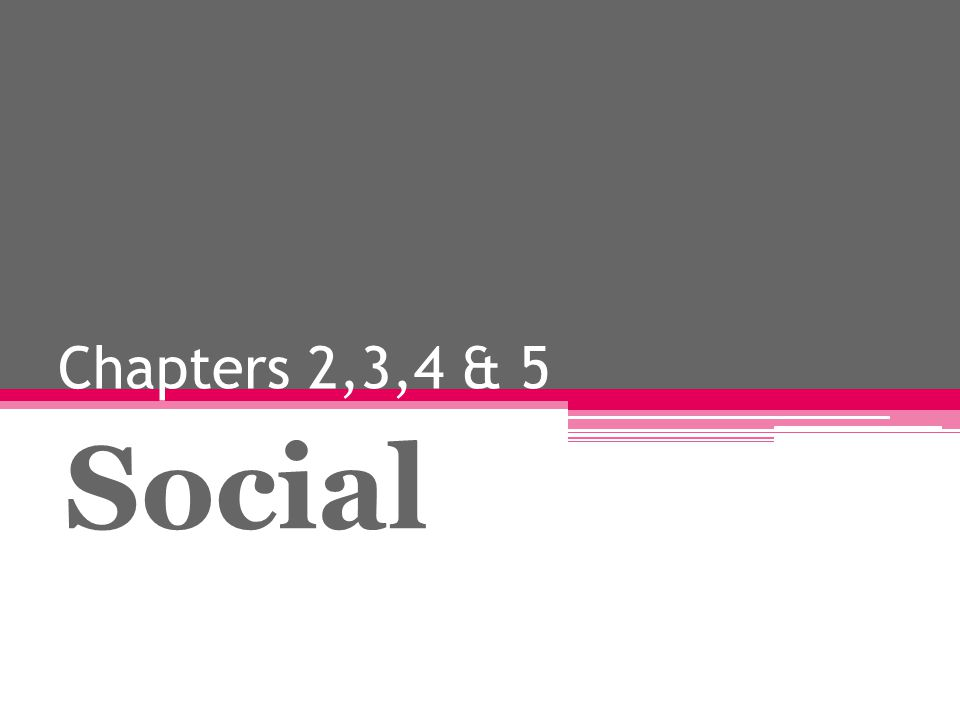 Chapters 2,3,4 & 5 Social