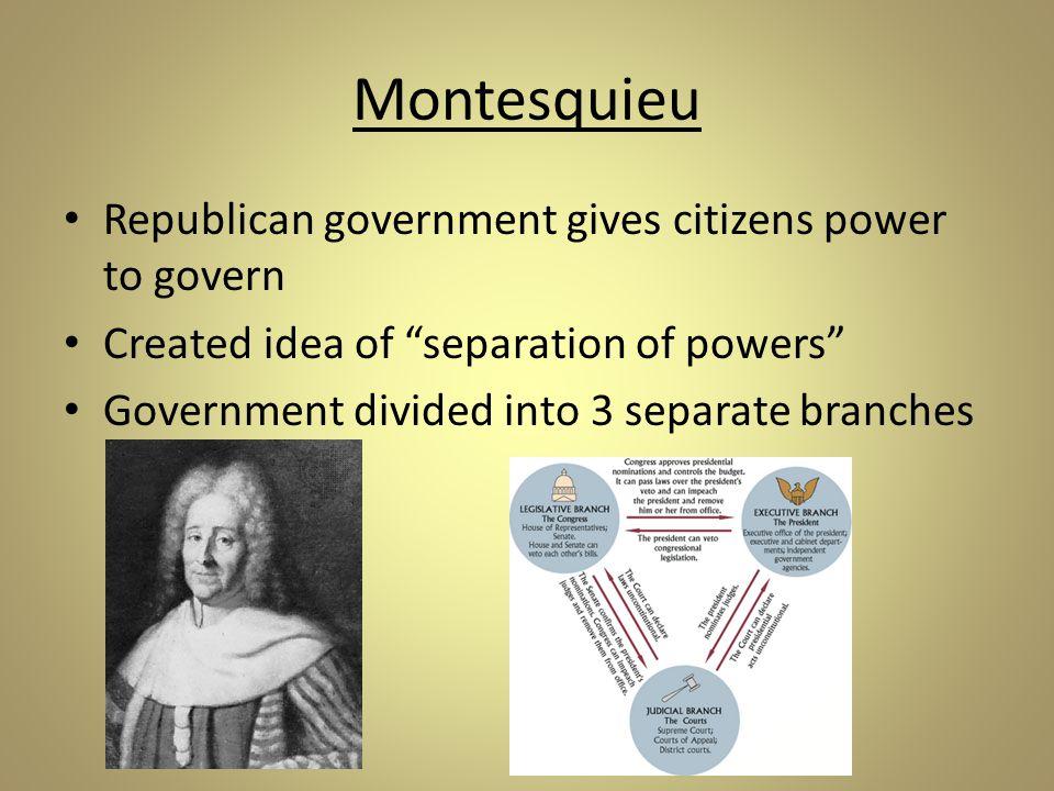 Montesquieu Prevents one from becoming too powerful Checks & balances