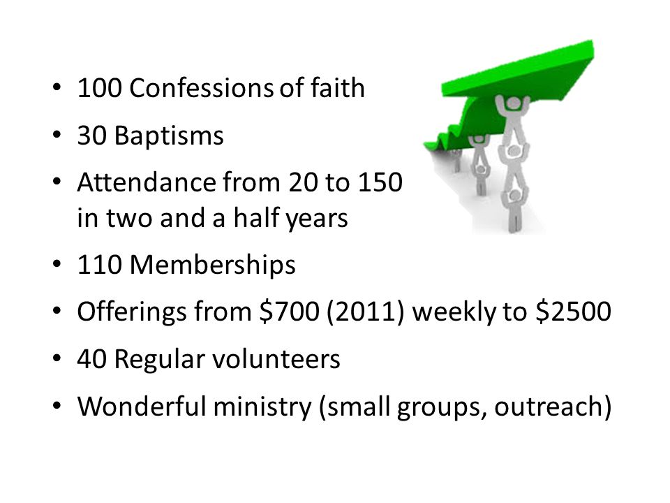 100 Confessions of faith 30 Baptisms Attendance from 20 to 150 in two and a half years 110 Memberships Offerings from $700 (2011) weekly to $2500 40 R