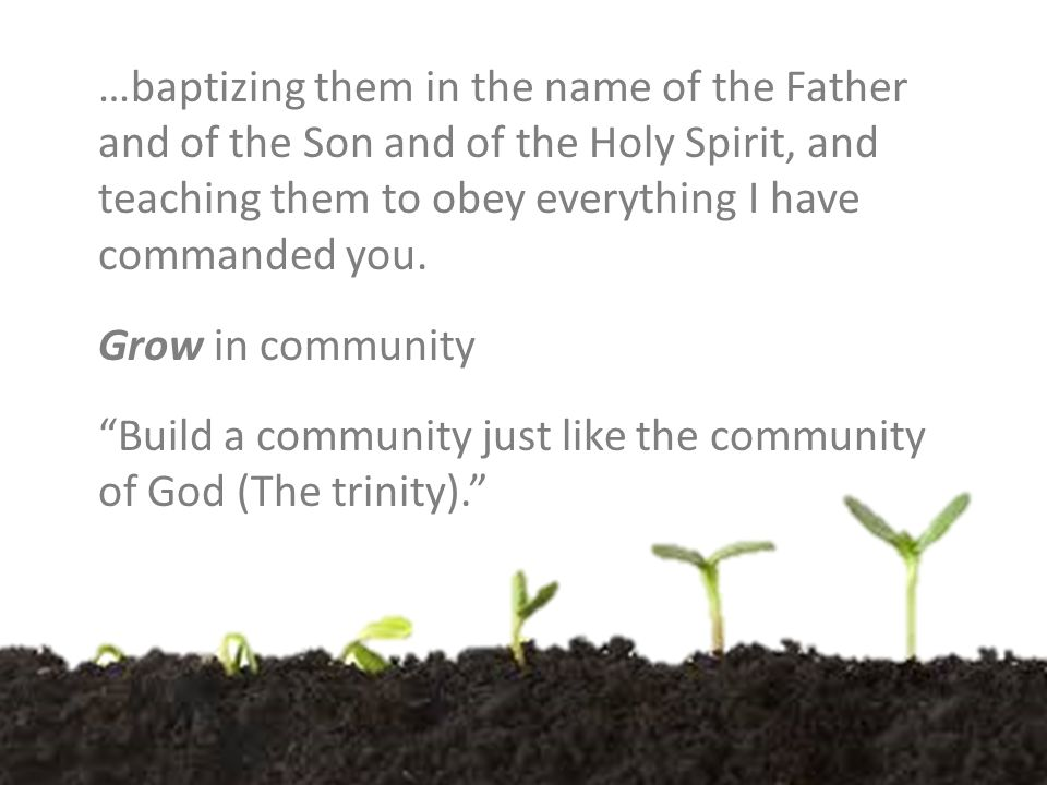 …baptizing them in the name of the Father and of the Son and of the Holy Spirit, and teaching them to obey everything I have commanded you.
