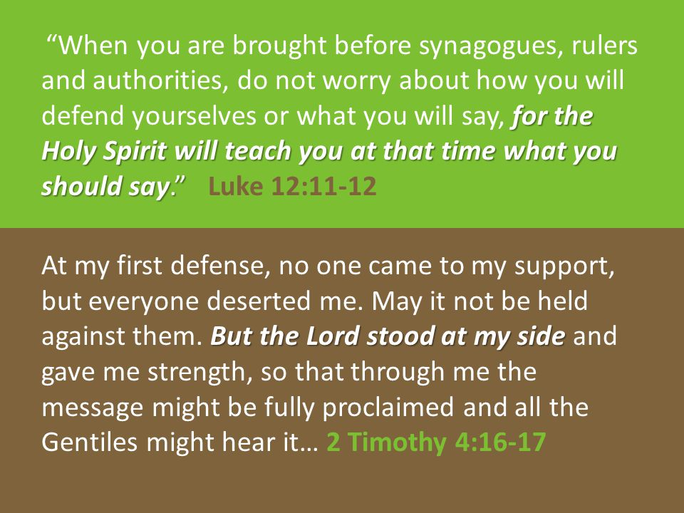 """for the Holy Spirit will teach you at that time what you should say."""" """"When you are brought before synagogues, rulers and authorities, do not worry ab"""