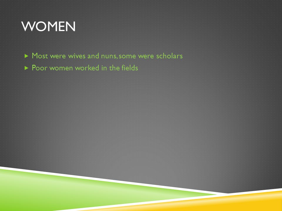 WOMEN  Most were wives and nuns, some were scholars  Poor women worked in the fields