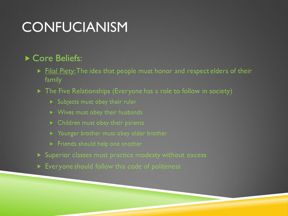 CONFUCIANISM  Core Beliefs:  Filial Piety: The idea that people must honor and respect elders of their family  The Five Relationships (Everyone has a role to follow in society)  Subjects must obey their ruler  Wives must obey their husbands  Children must obey their parents  Younger brother must obey older brother  Friends should help one another  Superior classes must practice modesty without excess  Everyone should follow this code of politeness