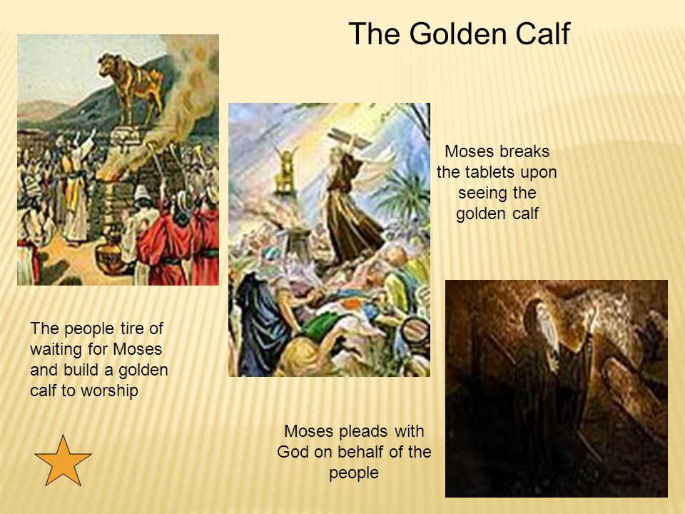 Moses breaks the tablets upon seeing the golden calf Moses pleads with God on behalf of the people The Golden Calf The people tire of waiting for Moses and build a golden calf to worship