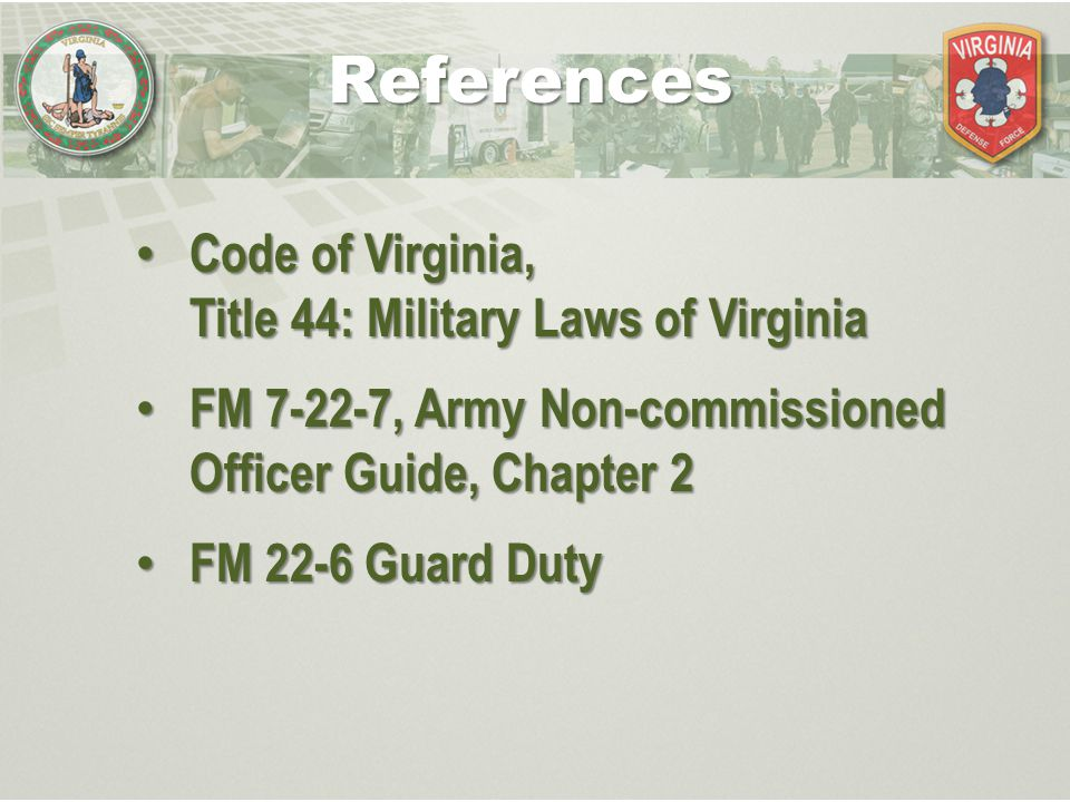 Military Authority & Orders Type of Military Authority - Command Authority - General Military Authority Sources of Authority - VDF Regulations - Military Laws of Virginia - Chain of Command, NCO Channel