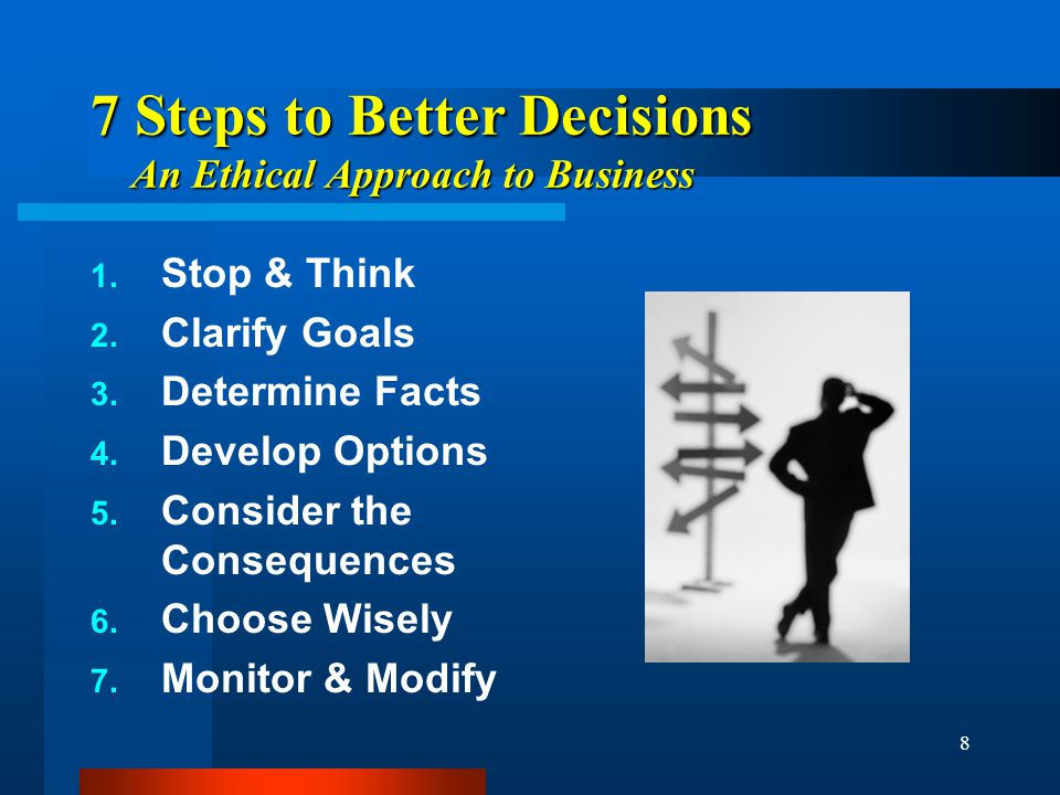 8 7 Steps to Better Decisions An Ethical Approach to Business 1.