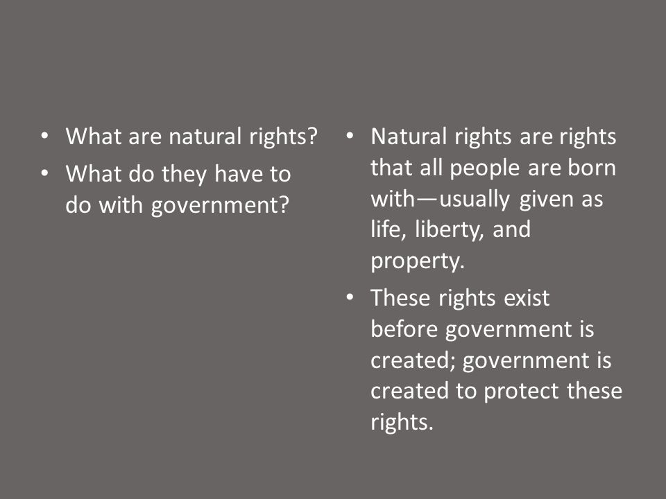 What are natural rights. What do they have to do with government.