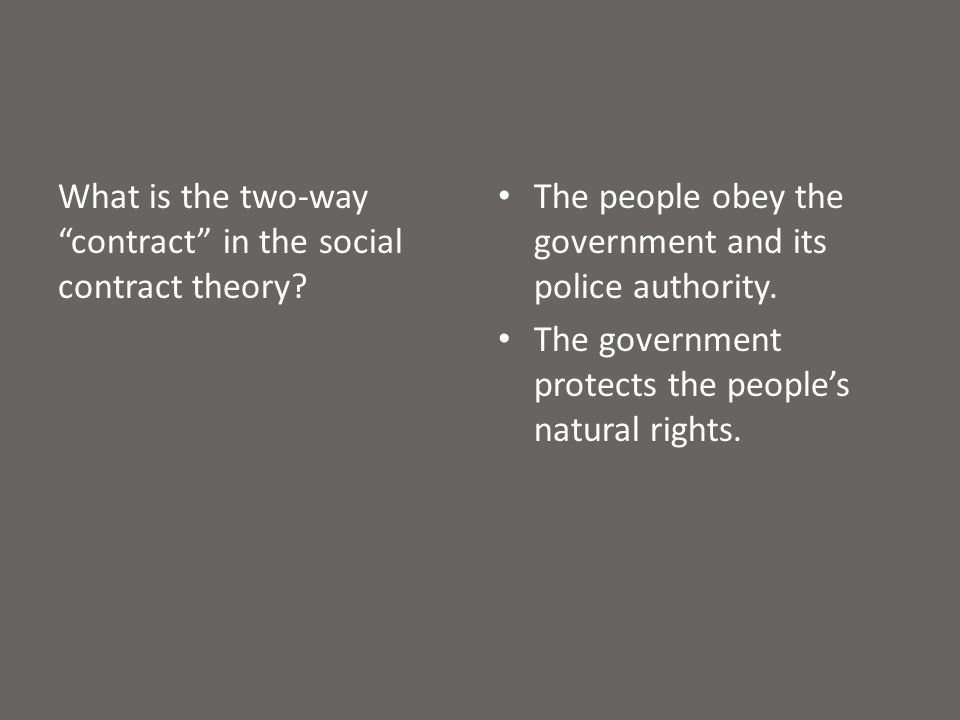 What is the two-way contract in the social contract theory.