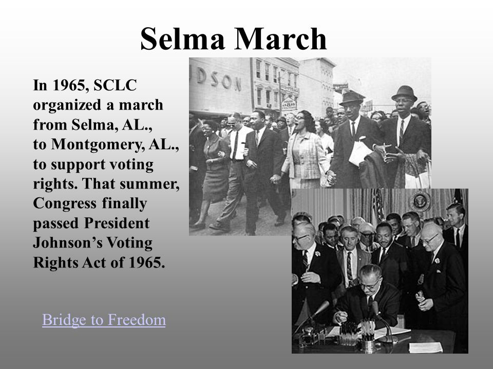 Selma March In 1965, SCLC organized a march from Selma, AL., to Montgomery, AL., to support voting rights.