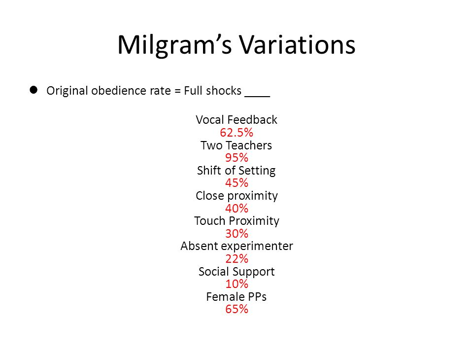 Milgram's Variations Original obedience rate = Full shocks ____ Vocal Feedback 62.5% Two Teachers 95% Shift of Setting 45% Close proximity 40% Touch P