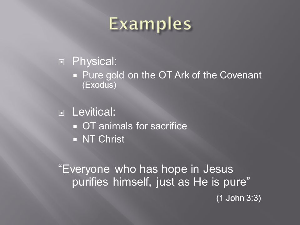  Physical:  Pure gold on the OT Ark of the Covenant (Exodus)  Levitical:  OT animals for sacrifice  NT Christ Everyone who has hope in Jesus purifies himself, just as He is pure (1 John 3:3)