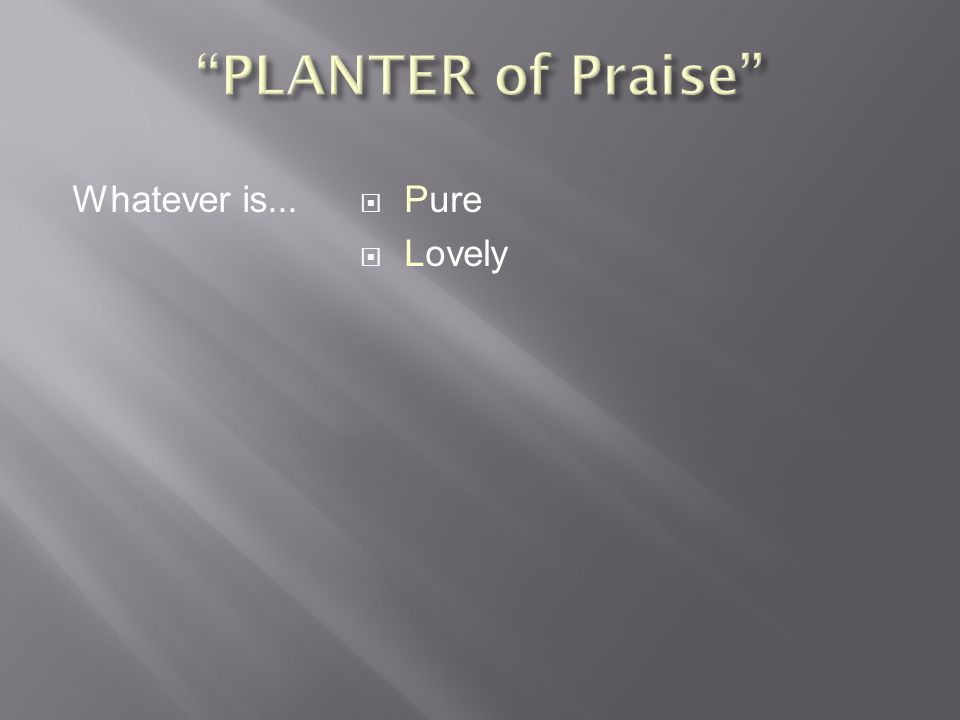  Physical Definition  Like gold or silver, refined by fire  Like a vine cleansed by pruning so as to bear fruit  Flawless