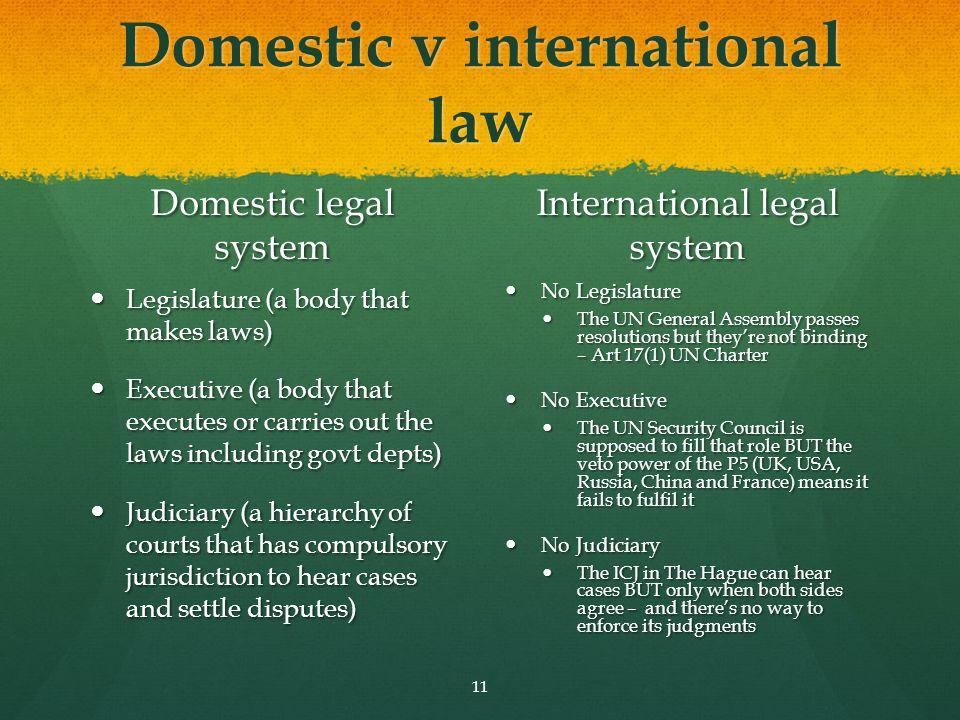 Domestic v international law Domestic legal system Legislature (a body that makes laws) Executive (a body that executes or carries out the laws includ