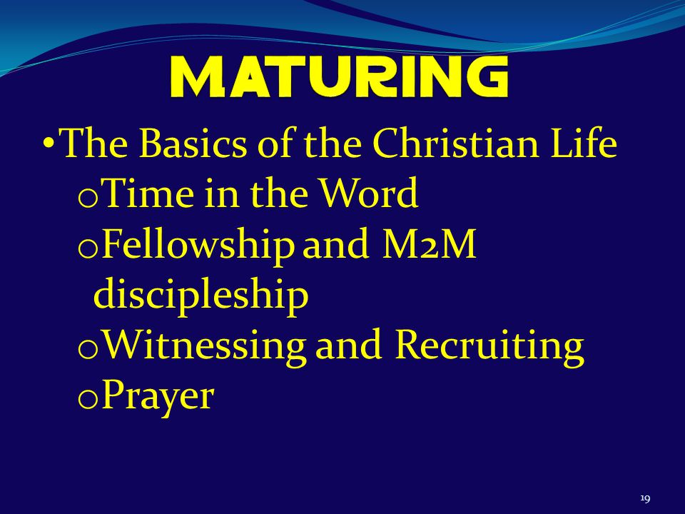 19 The Basics of the Christian Life o Time in the Word o Fellowship and M2M discipleship o Witnessing and Recruiting o Prayer
