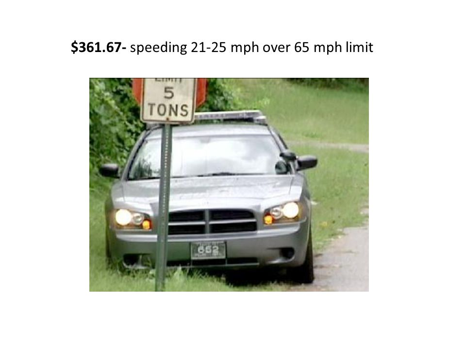 $361.67- speeding 21-25 mph over 65 mph limit