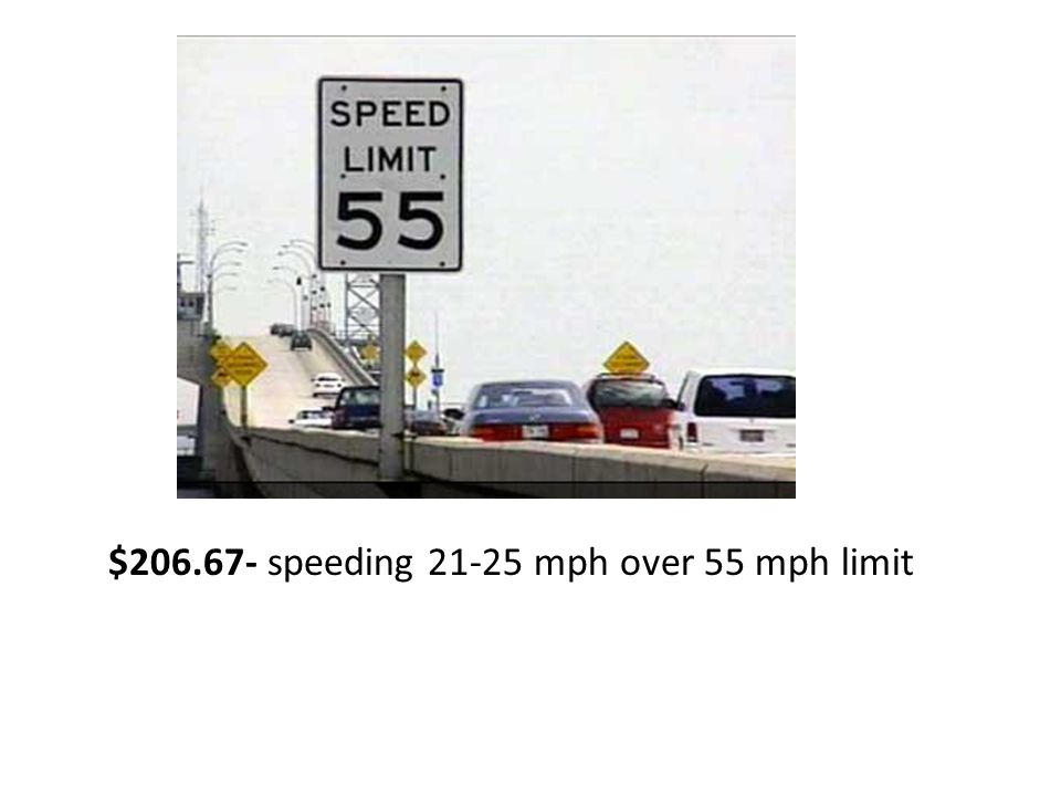 $206.67- speeding 21-25 mph over 55 mph limit