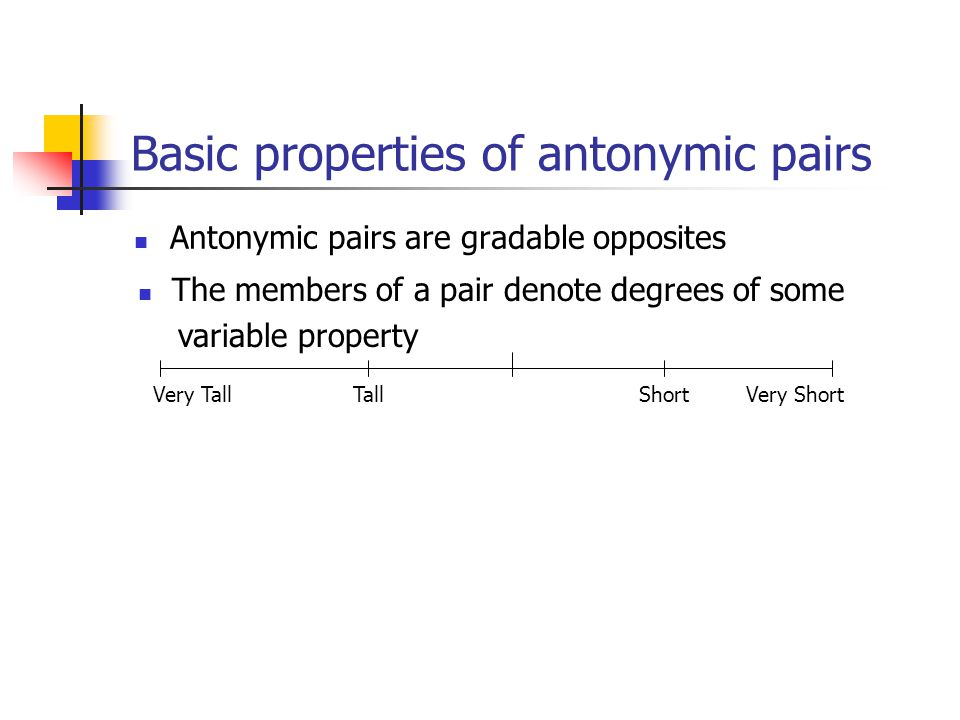 Basic properties of antonymic pairs Antonymic pairs are gradable opposites Very TallVery Short Tall Short The members of a pair denote degrees of some variable property