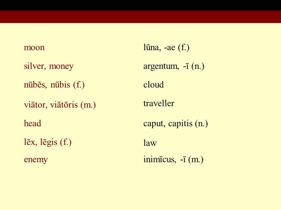 moon silver, money nūbēs, nūbis (f.) viātor, viātōris (m.) lūna, -ae (f.) argentum, -ī (n.) cloud traveller head lēx, lēgis (f.) enemy caput, capitis (n.) law inimīcus, -ī (m.)