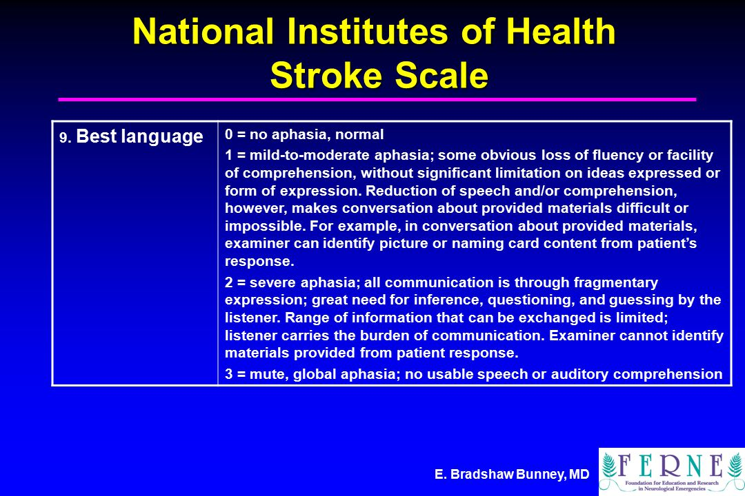 E. Bradshaw Bunney, MD National Institutes of Health Stroke Scale 9.
