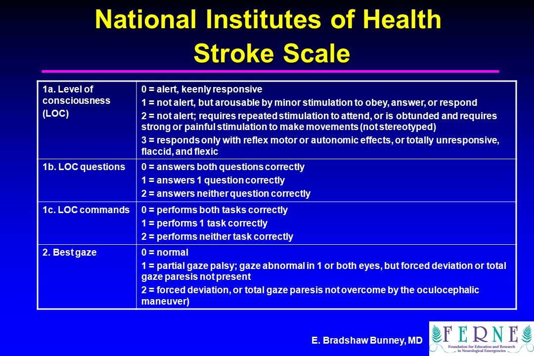 E. Bradshaw Bunney, MD National Institutes of Health Stroke Scale 1a.