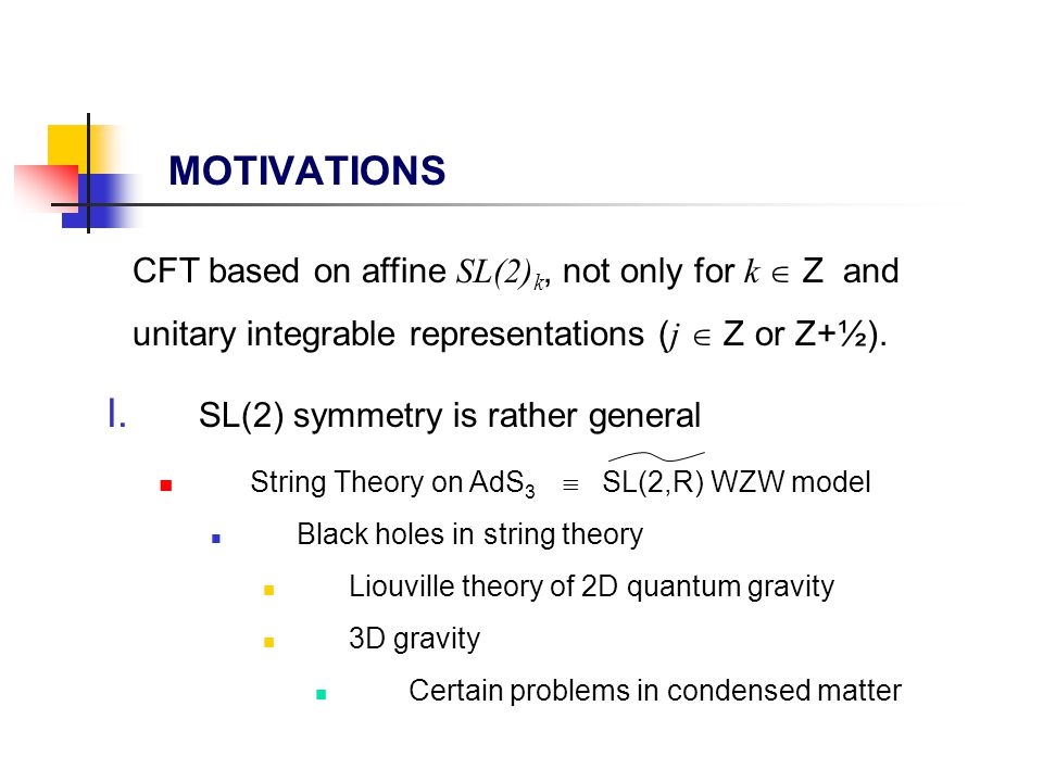 MOTIVATIONS I. SL(2) symmetry is rather general String Theory on AdS 3  SL(2,R) WZW model Black holes in string theory Liouville theory of 2D quantum