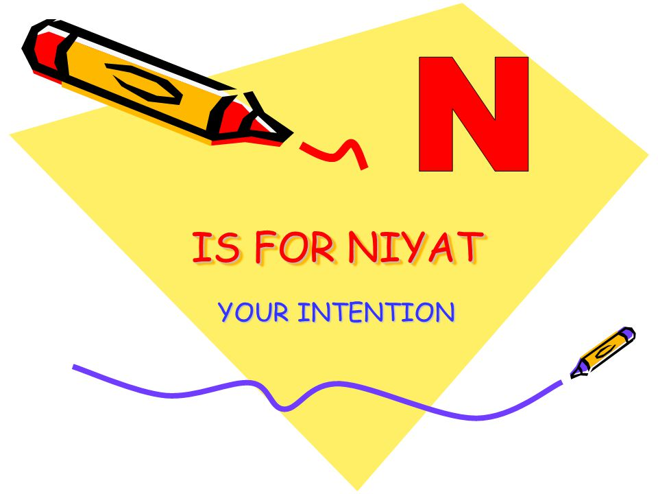 IS FOR NIYAT YOUR INTENTION