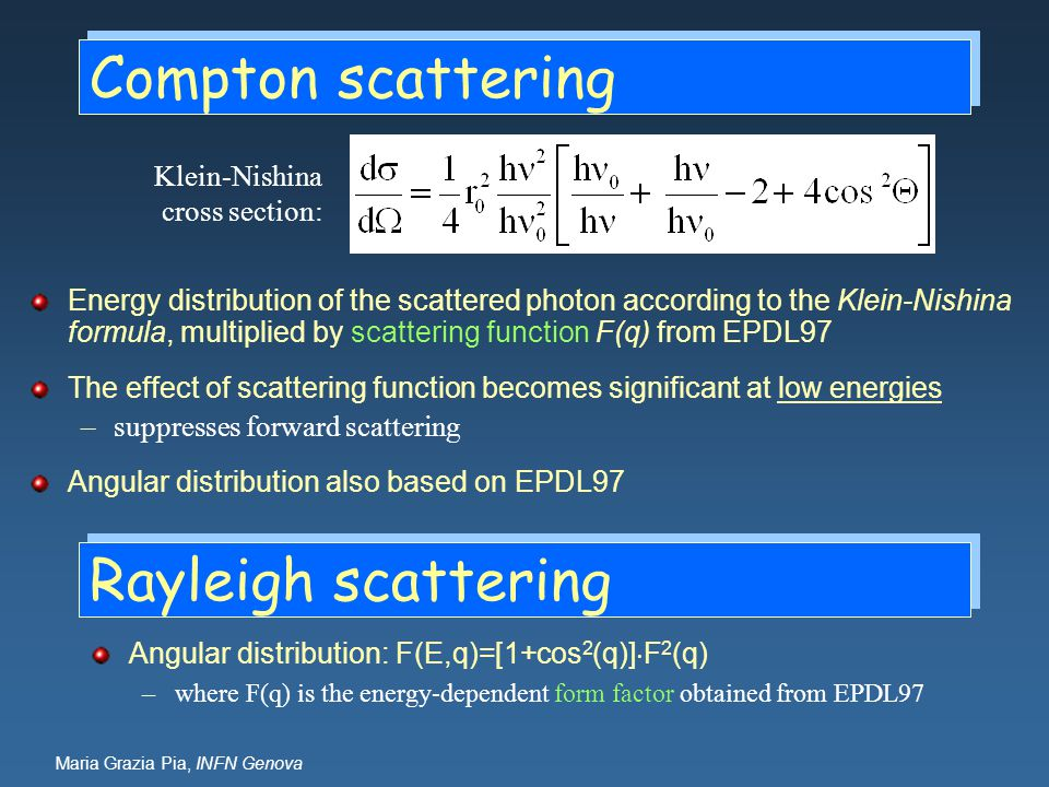 Compton scattering Energy distribution of the scattered photon according to the Klein-Nishina formula, multiplied by scattering function F(q) from EPD