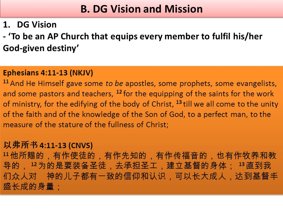 B. DG Vision and Mission 1.DG Vision - 'To be an AP Church that equips every member to fulfil his/her God-given destiny' Ephesians 4:11-13 (NKJV) 11 A