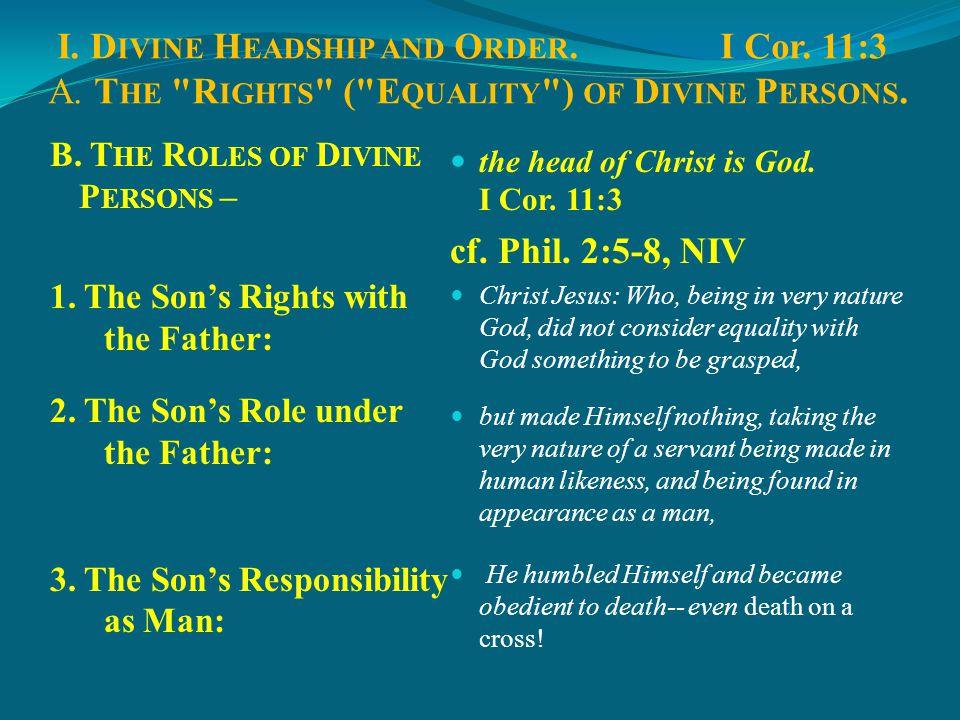 I.D IVINE H EADSHIP AND O RDER.I Cor. 11:3 II. A PPOINTED H EADSHIPS AND O RDER.I Cor.